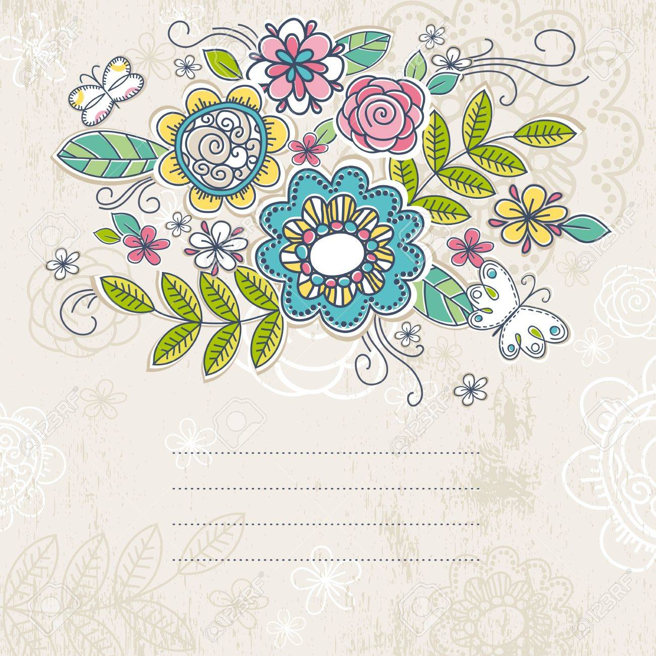 background of hand draw  flowers, vector illustration Stock Vector - 10503602