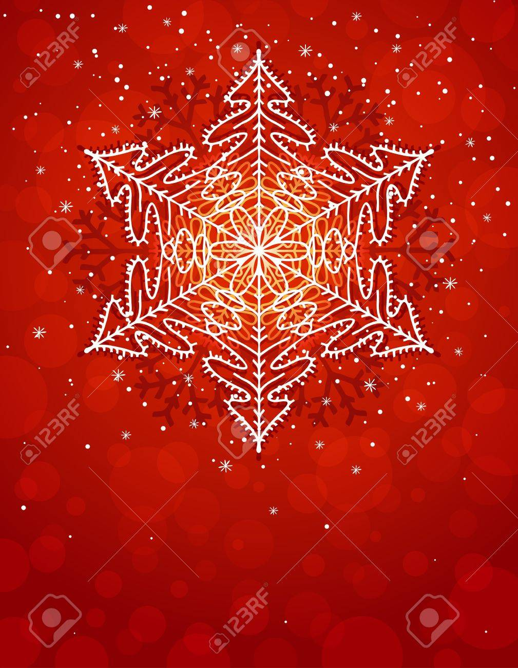 red christmas card with snowflake Stock Vector - 10757009