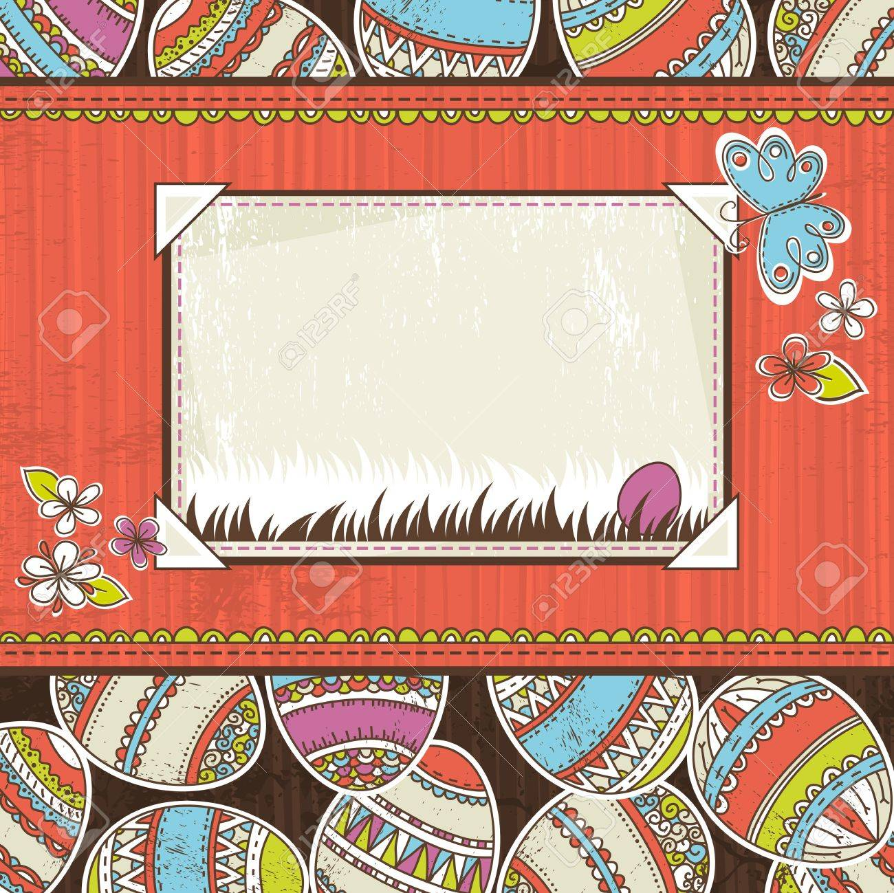 background with easter eggs and label for text, vector Stock Vector - 12343155