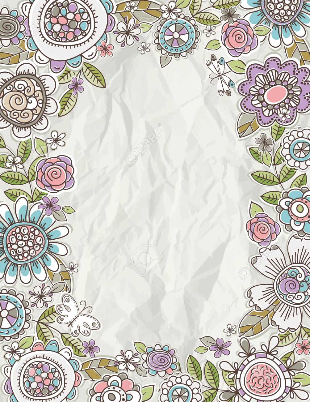 Background Of Hand Draw Flowers Royalty Free Cliparts Vectors