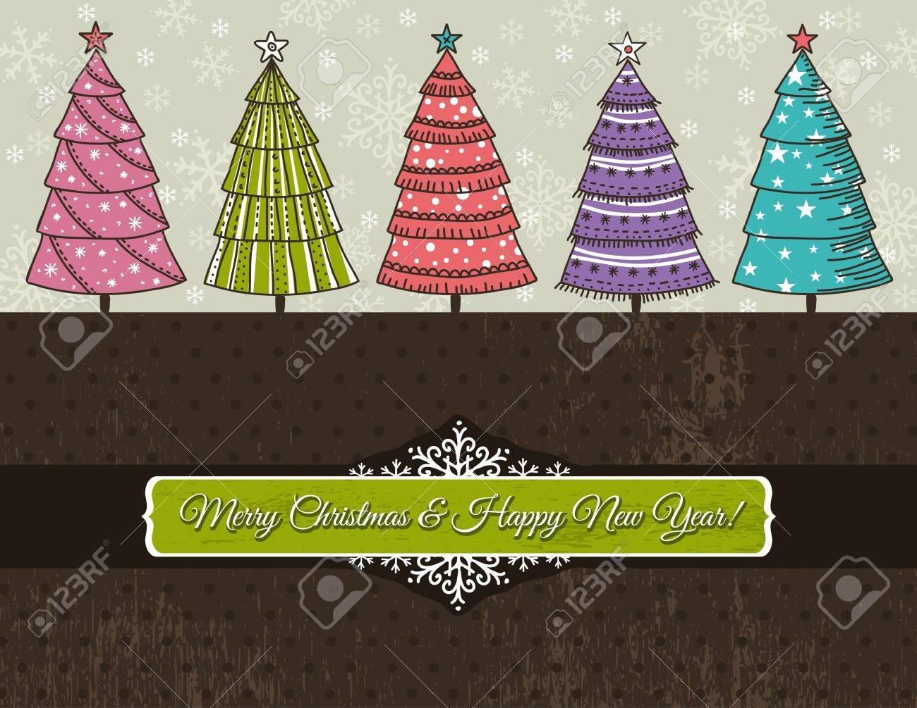 background with forest of christmas trees,  illustration Stock Vector - 15820985