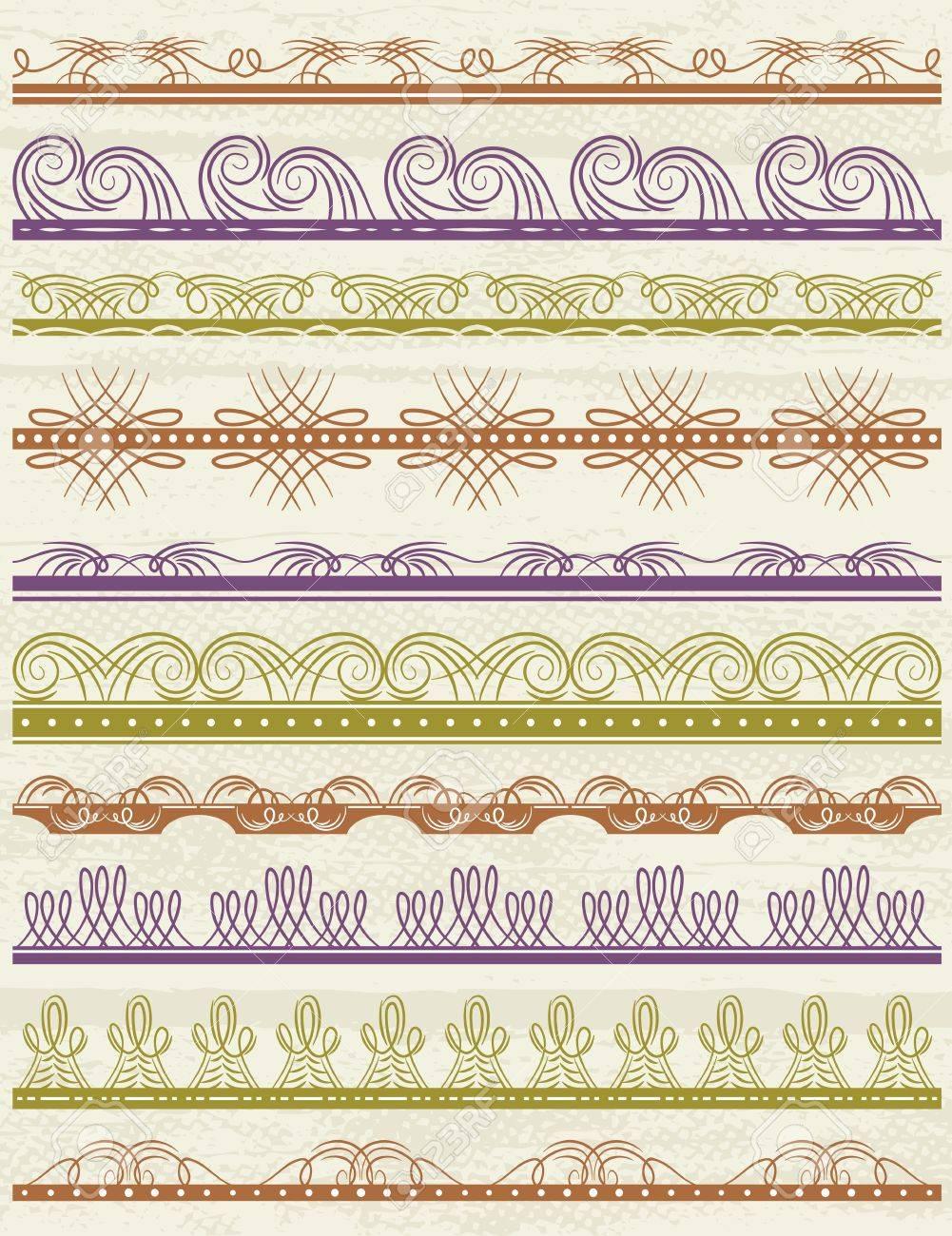 floral decorative borders, ornamental rules, dividers, vector Stock Vector - 18958983