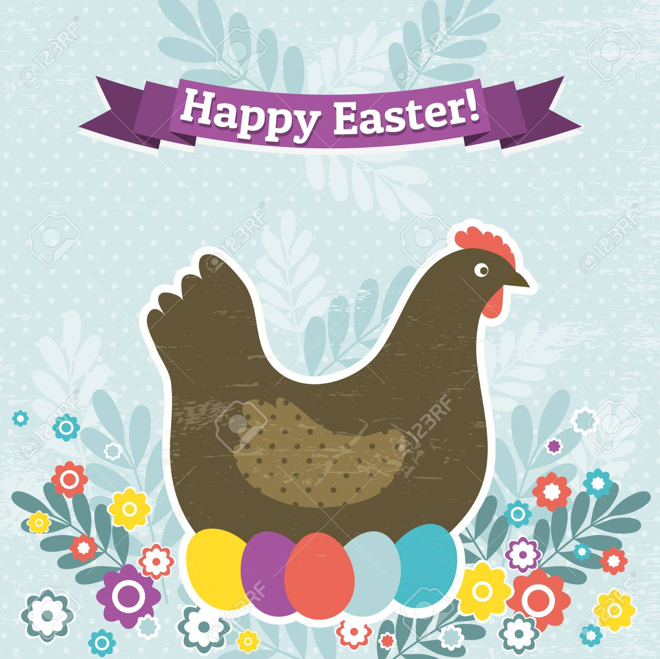 background with easter eggs and one hen, vector Stock Vector - 26820213