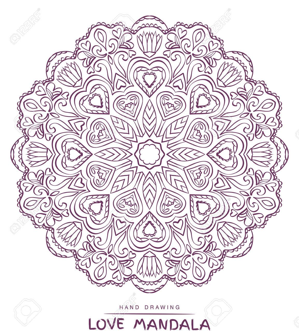 Mandala Del Vector Para Colorear Con Valentines Elementos ...
