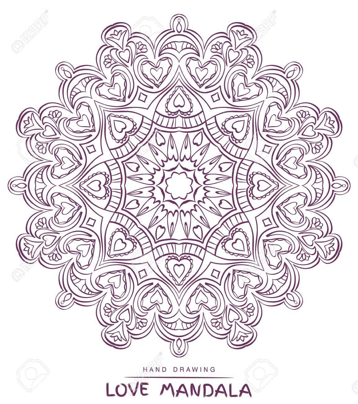 Vector Mandala Für Valentines Mit Dekorativen Elementen Färbung ...
