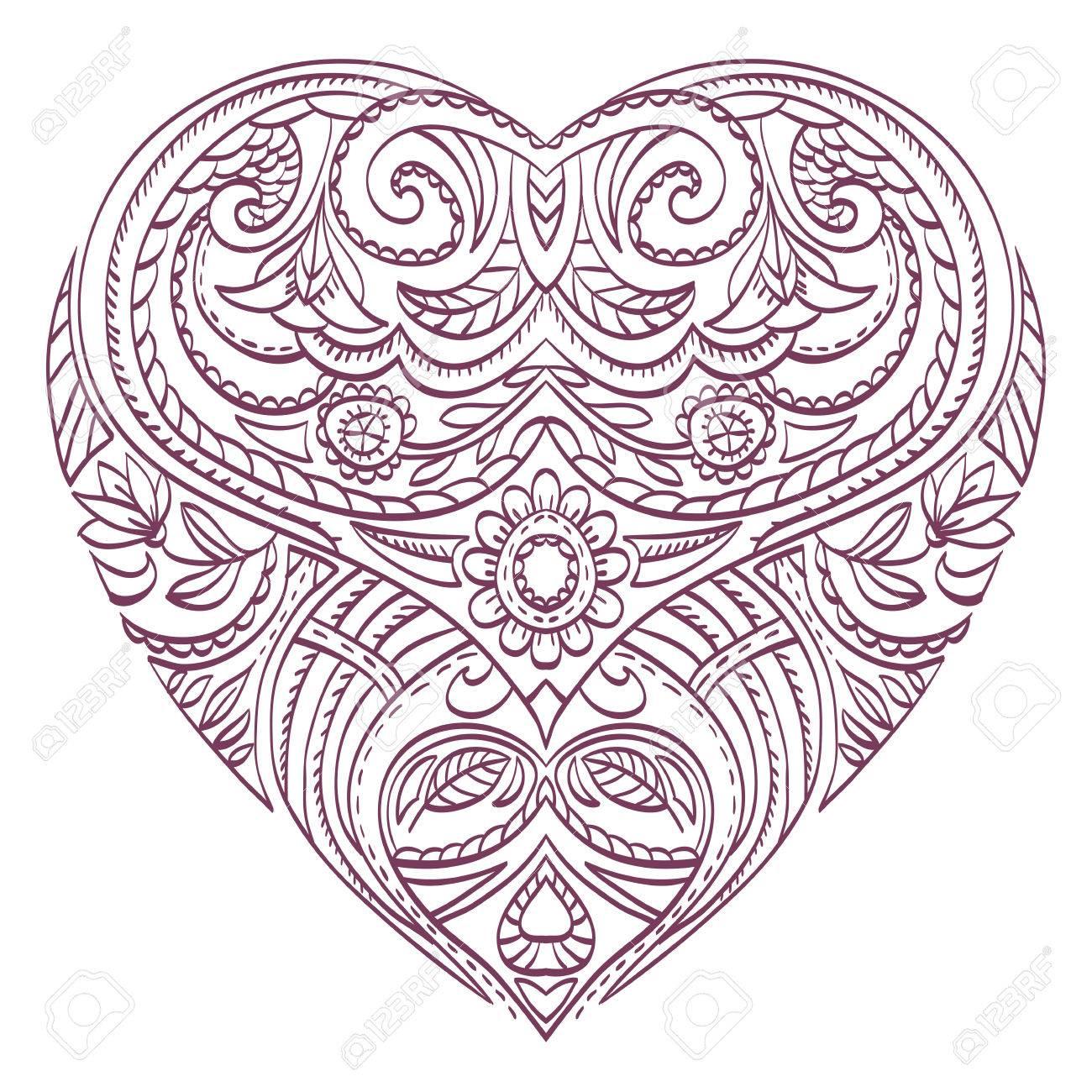 Vector Herz Für Valentines Mit Dekorativen Elementen Färbung ...