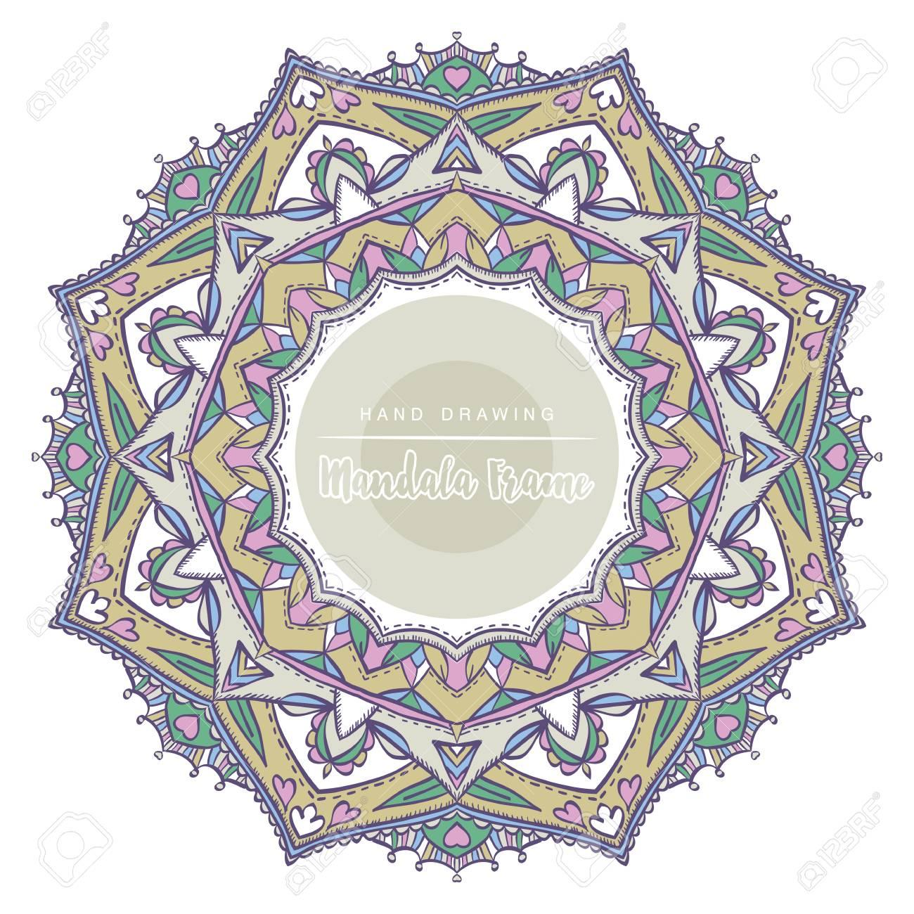 Coloriage Mandala Couleur.Mandala De Couleur Avec Des Elements Decoratifs Floraux Patterned