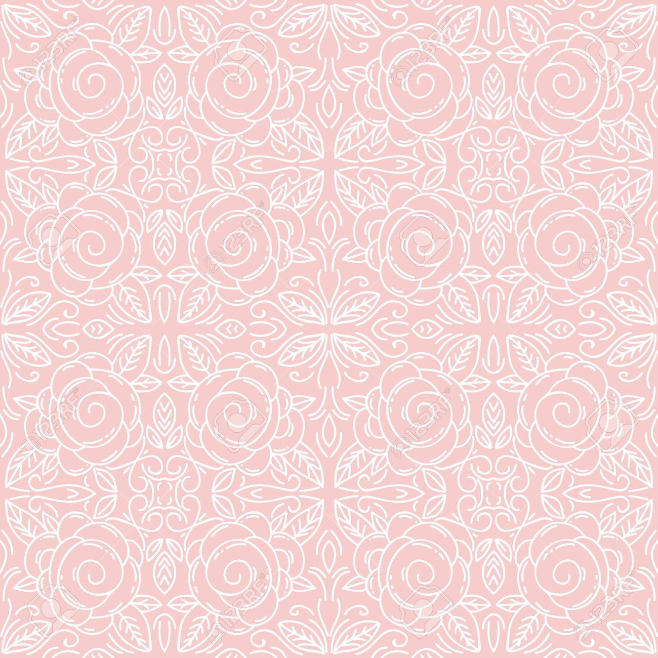 Pink Floral Seamless Patterns Ideal For Printing Onto Fabric