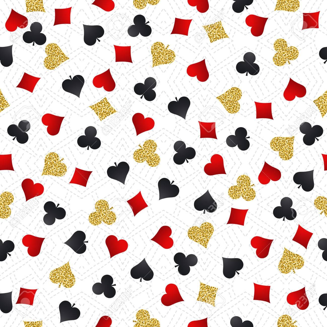 Fondo De Juego De Poker Inconsutil Del Casino Con Simbolos Rojos