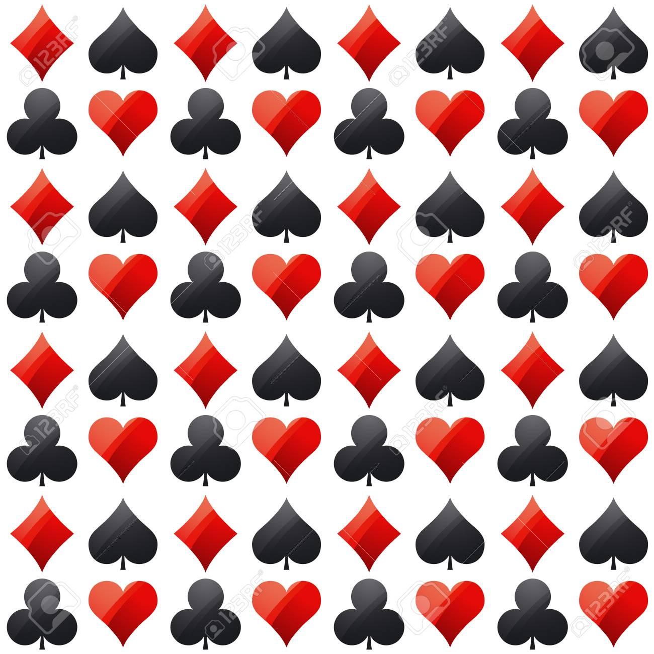 Poker De Juego Del Casino Con Simbolos Rojos Y Negros Ilustracion