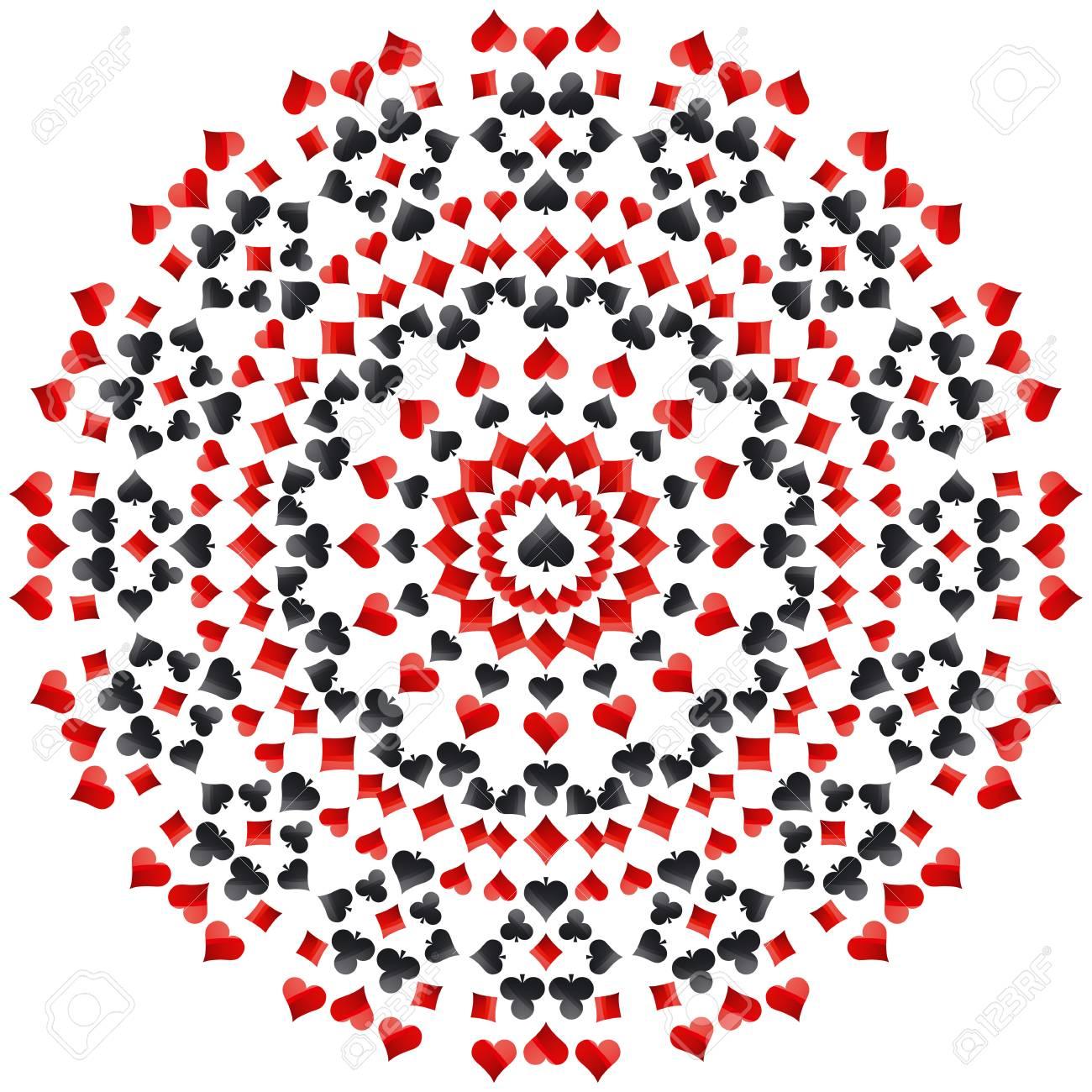 Mandala Redonda Del Poker De Juego Con Los Simbolos Rojos Y Negros