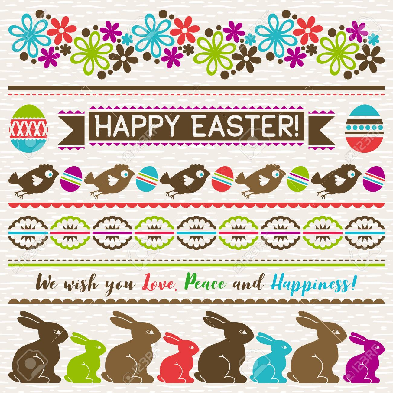 easter greetings cards with color easter eggs flowers and rabbits