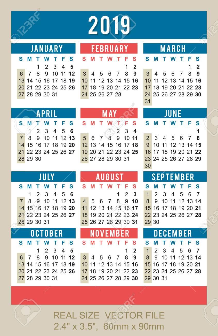 Pocket Calendar.Pocket Calendar 2019 Start On Sunday Size 2 4