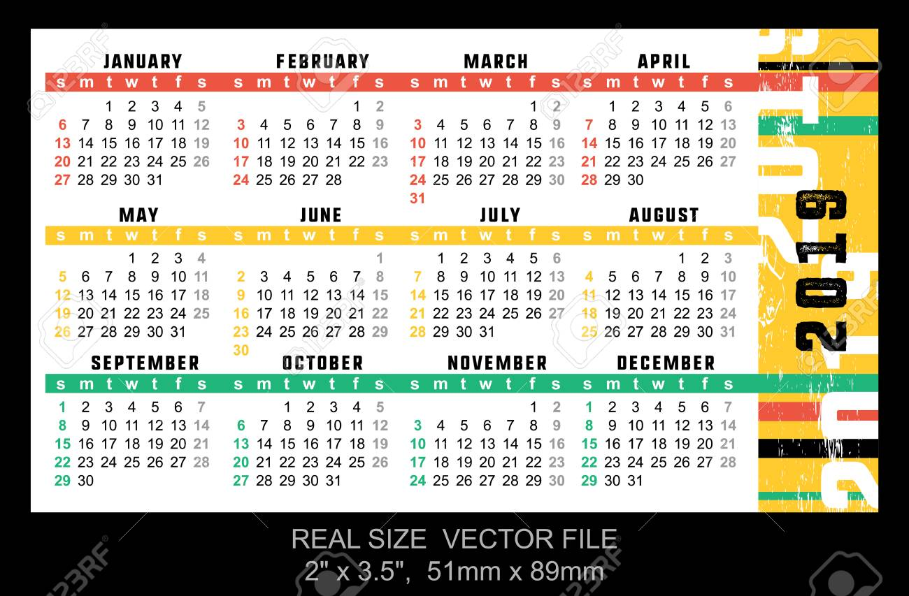 Pocket Calendar 2019 Start On Sunday Vector Size 2 X 35