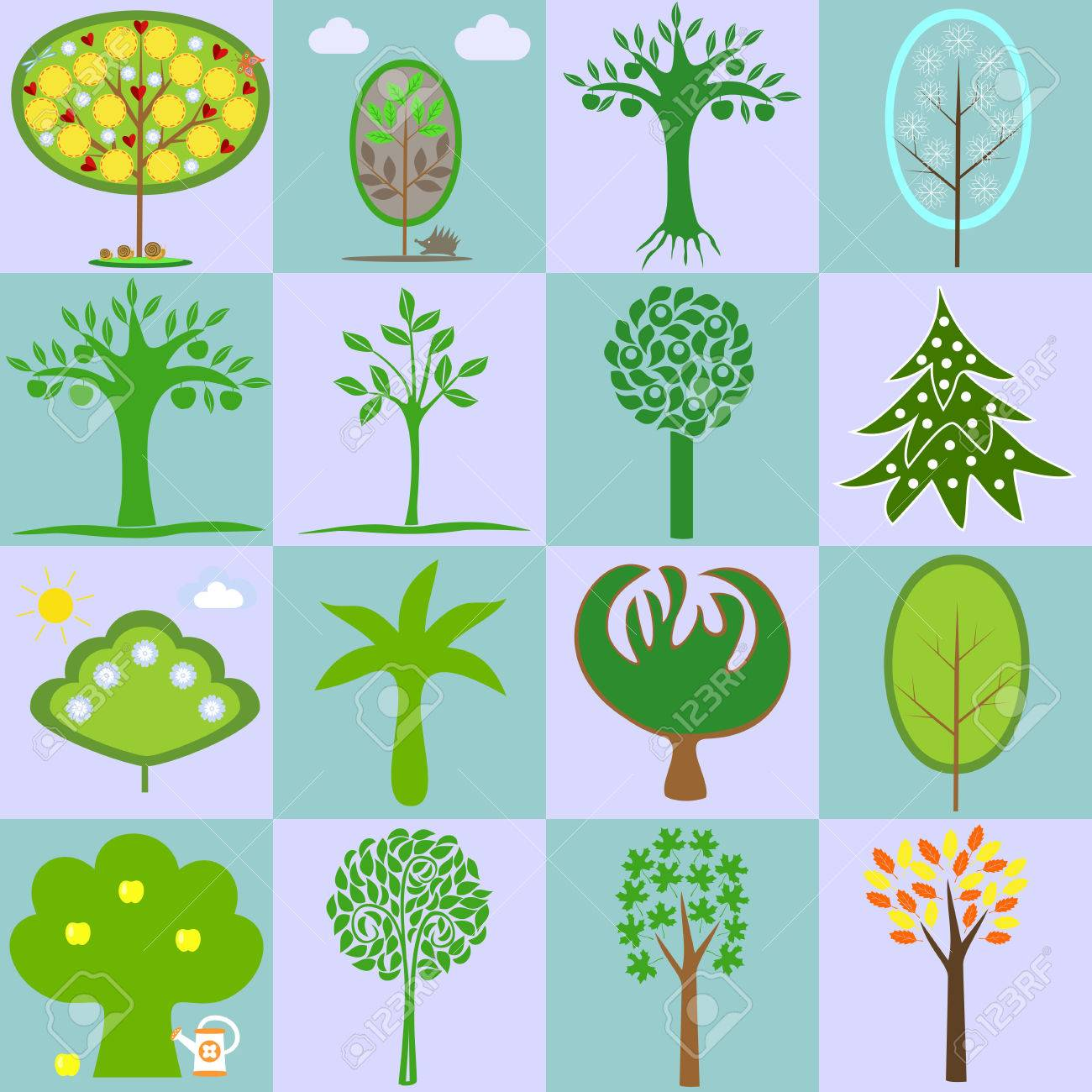 icons with different types of trees in different seasons