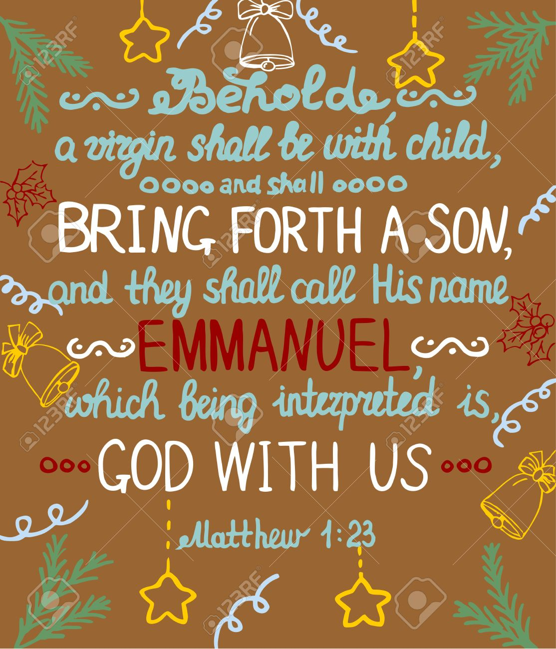 Christmas background with lettering Bible She shall bring forth a Son and shall call his name Emmanuel, which means God with us. - 61529512