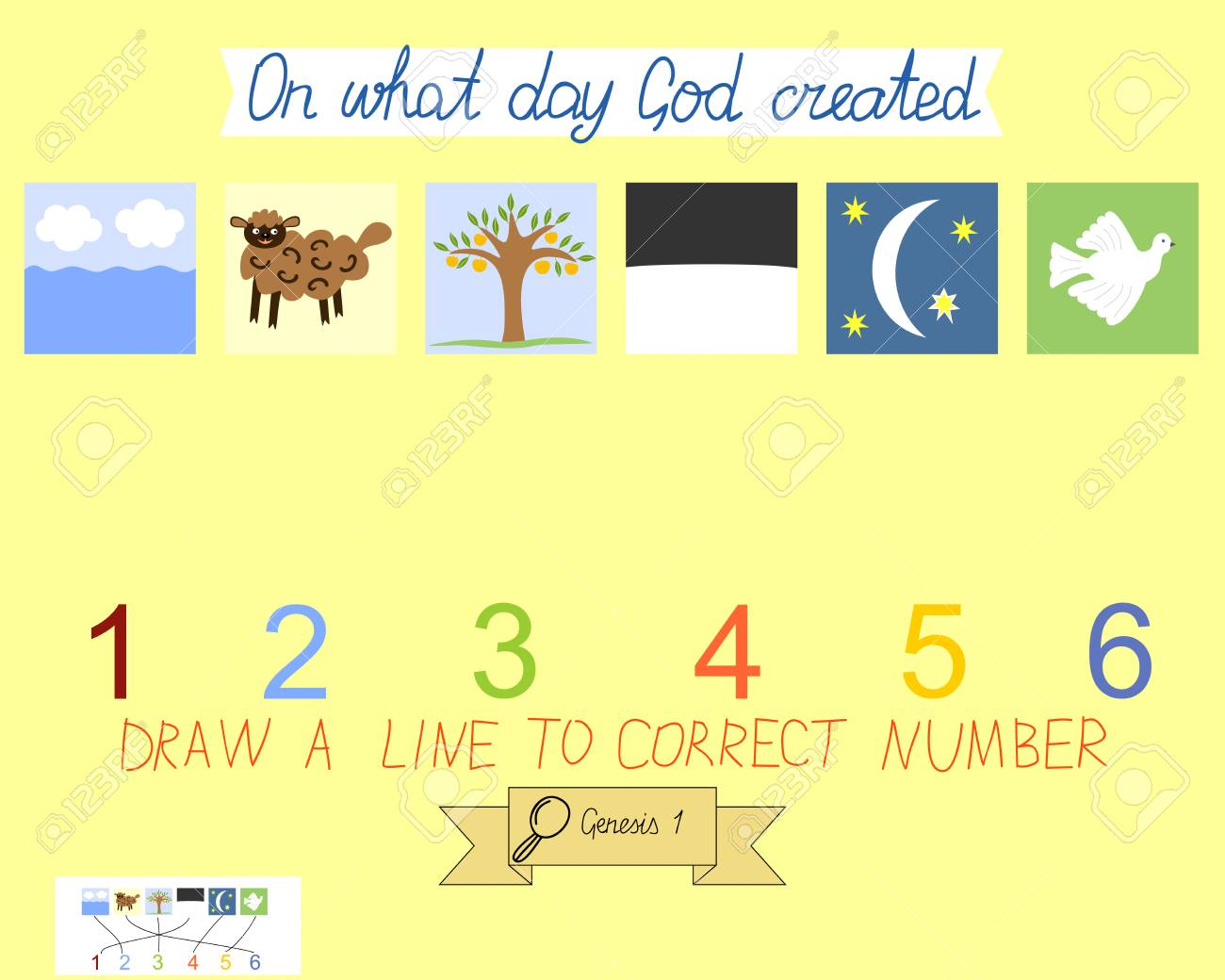 Task For Children How To Place Days Of Creation Book Of Genesis Creation Of