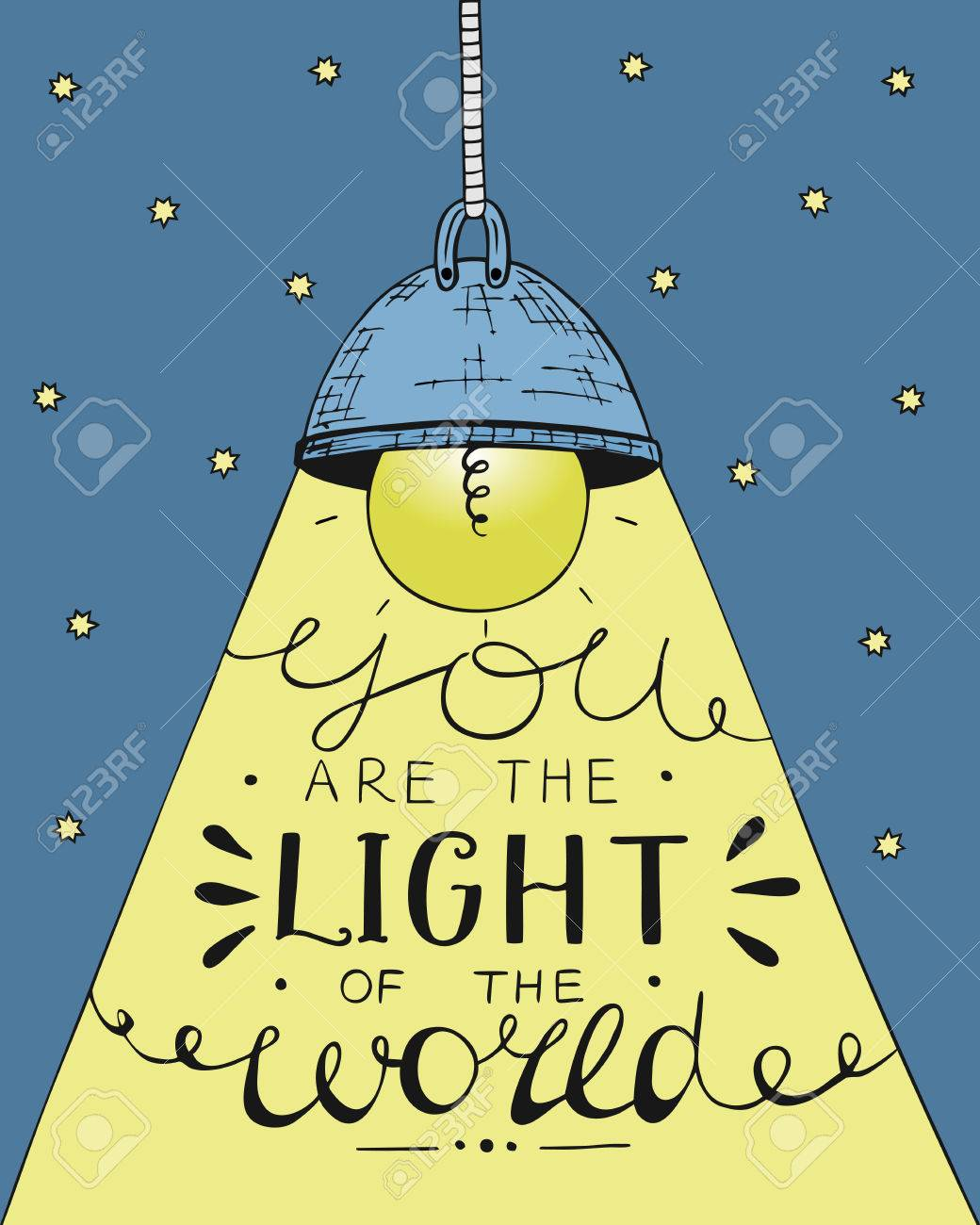 Hand lettering You the light of the world, made on the star background with glowing light bulb. Biblical background. Christian poster. - 69817978