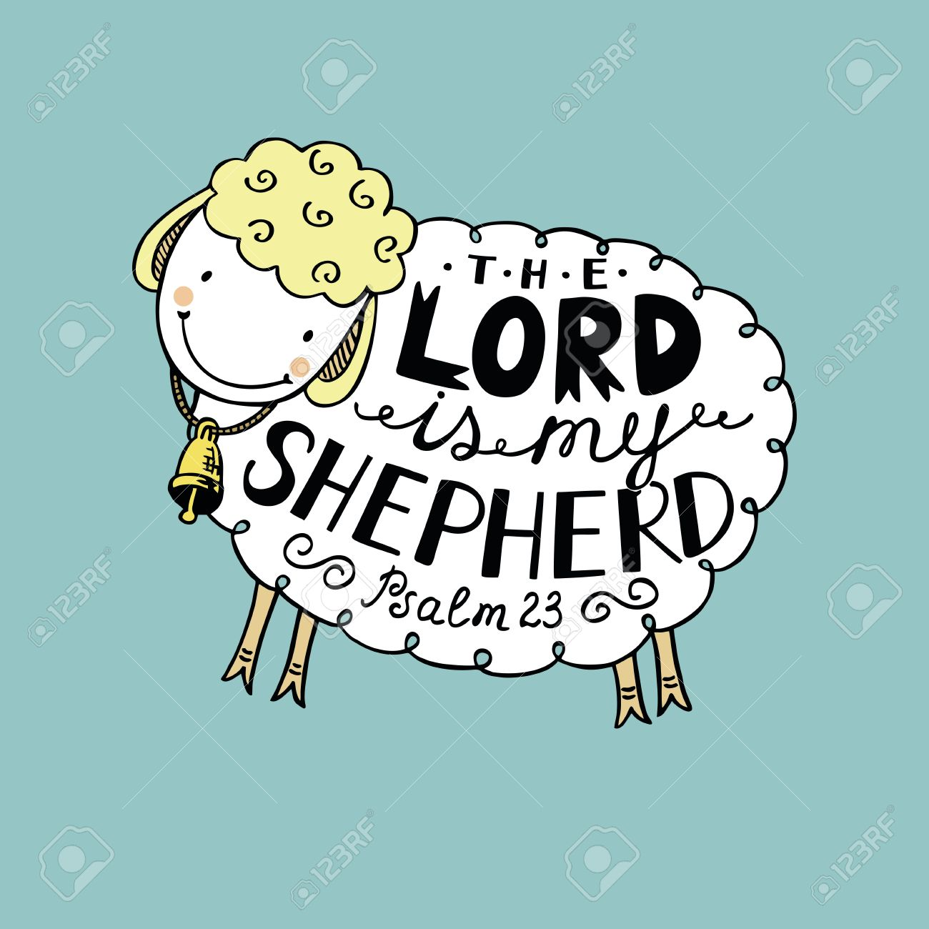 Hand lettering made in sheep with a bell the lord is my shepherd biblical