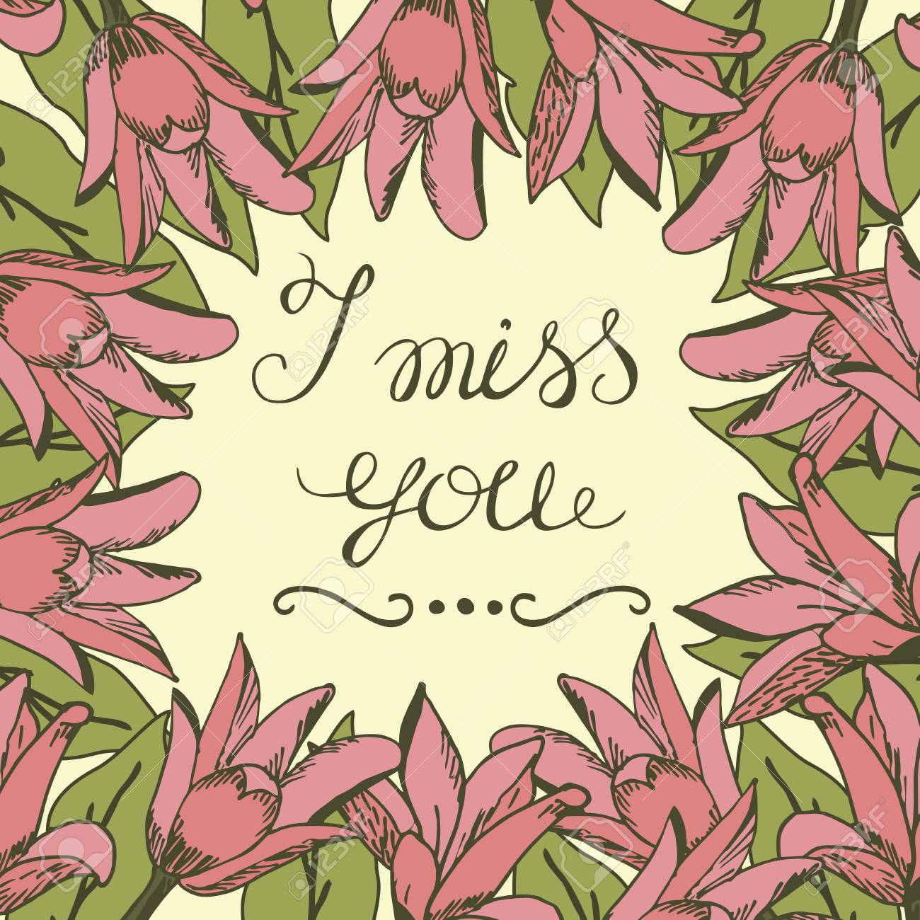 Greeting card with lettering i miss you wedding floral background greeting card with lettering i miss you wedding floral background poster valentines m4hsunfo