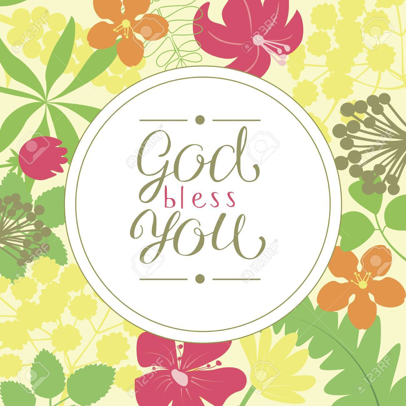 Hand Lettering God Bless You Is Made On A Floral Background