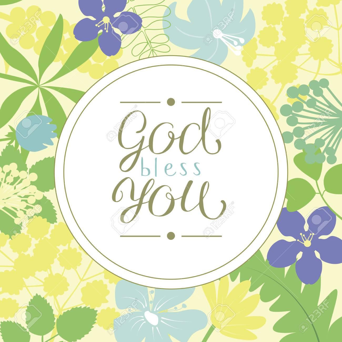 Linsegna A Mano Che Dio Ti Benedica è Fatta Su Uno Sfondo Floreale