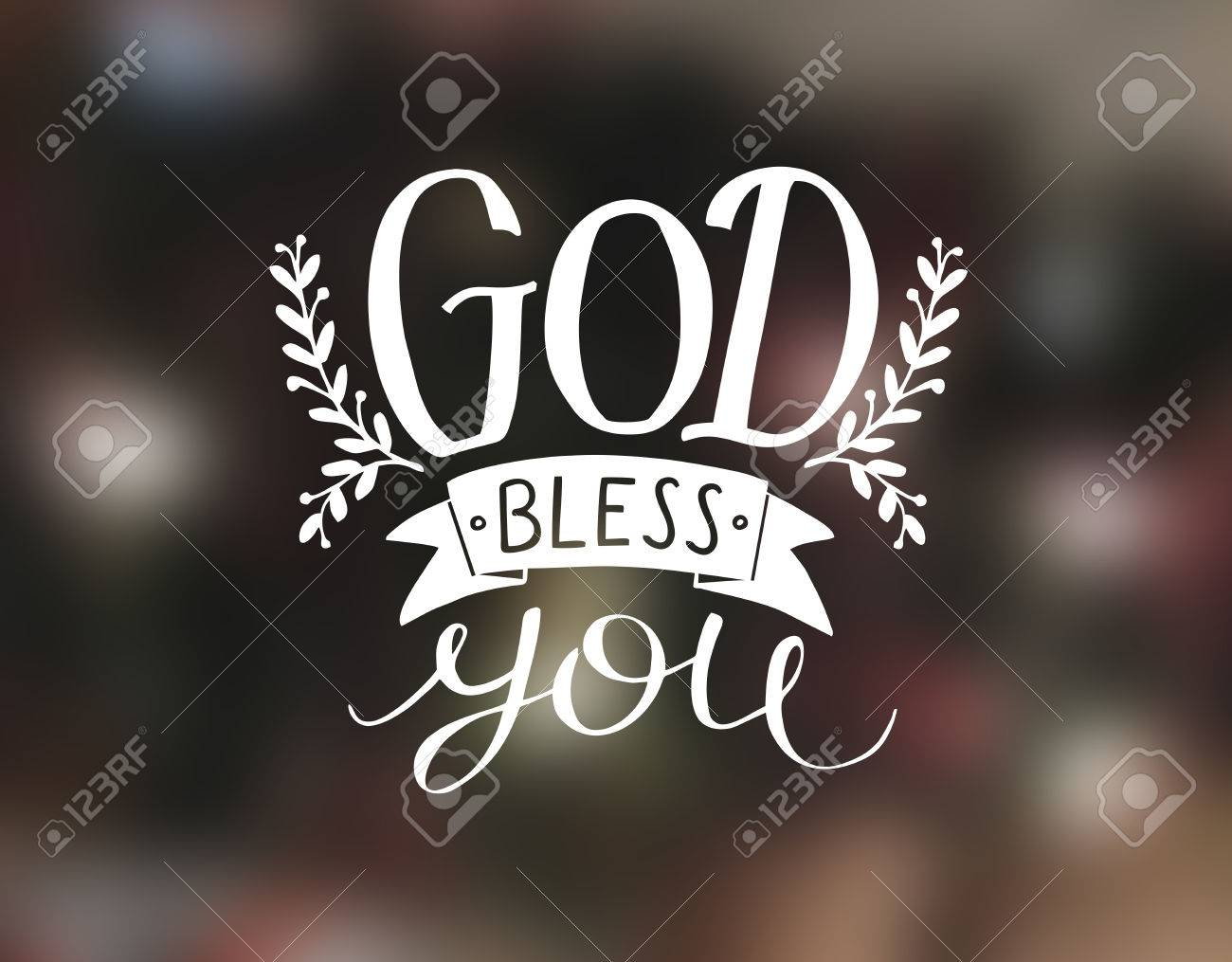Hand Lettering God Bless You Christian Poster Card