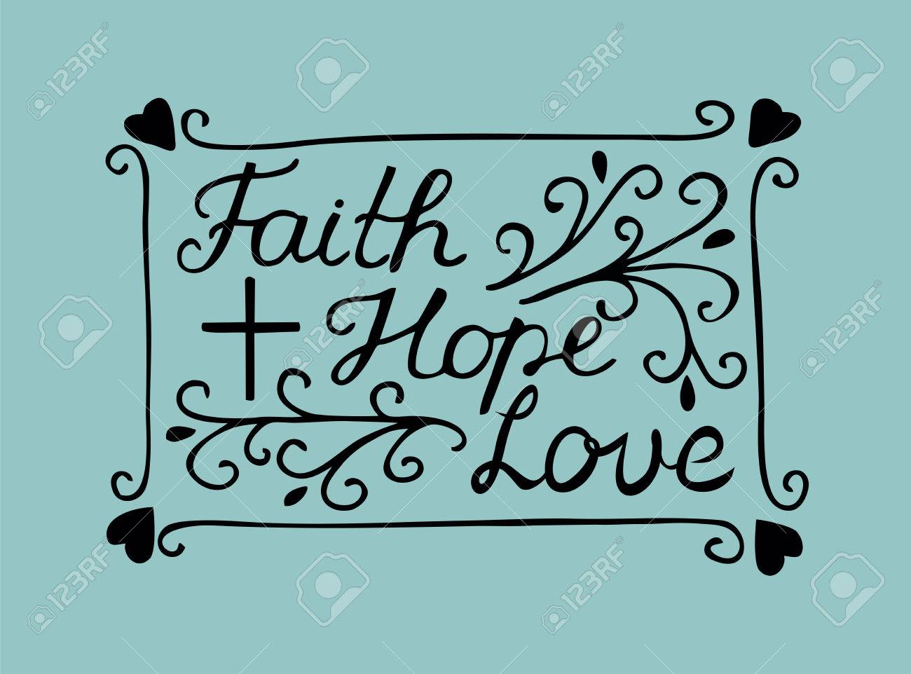 Hand lettering Faith, hope and love with cross and hearts. Bible verse. Christian poster. New Testament. Modern calligraphy. Scripture prints - 85493781