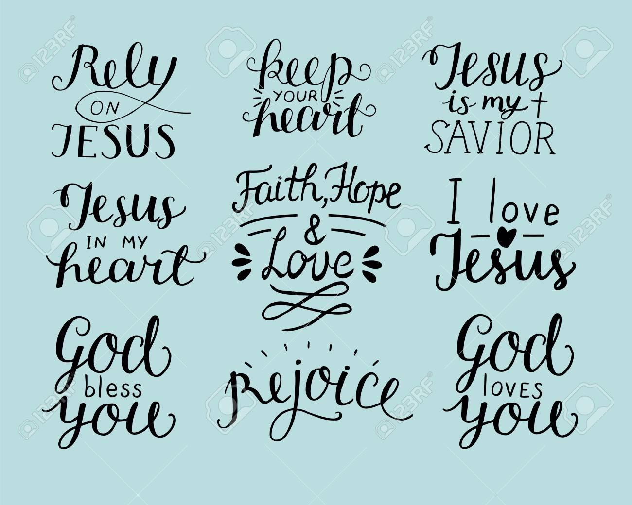 Set Di 9 Scritte A Mano Citazioni Cristiane Come Dio Ti Benedica