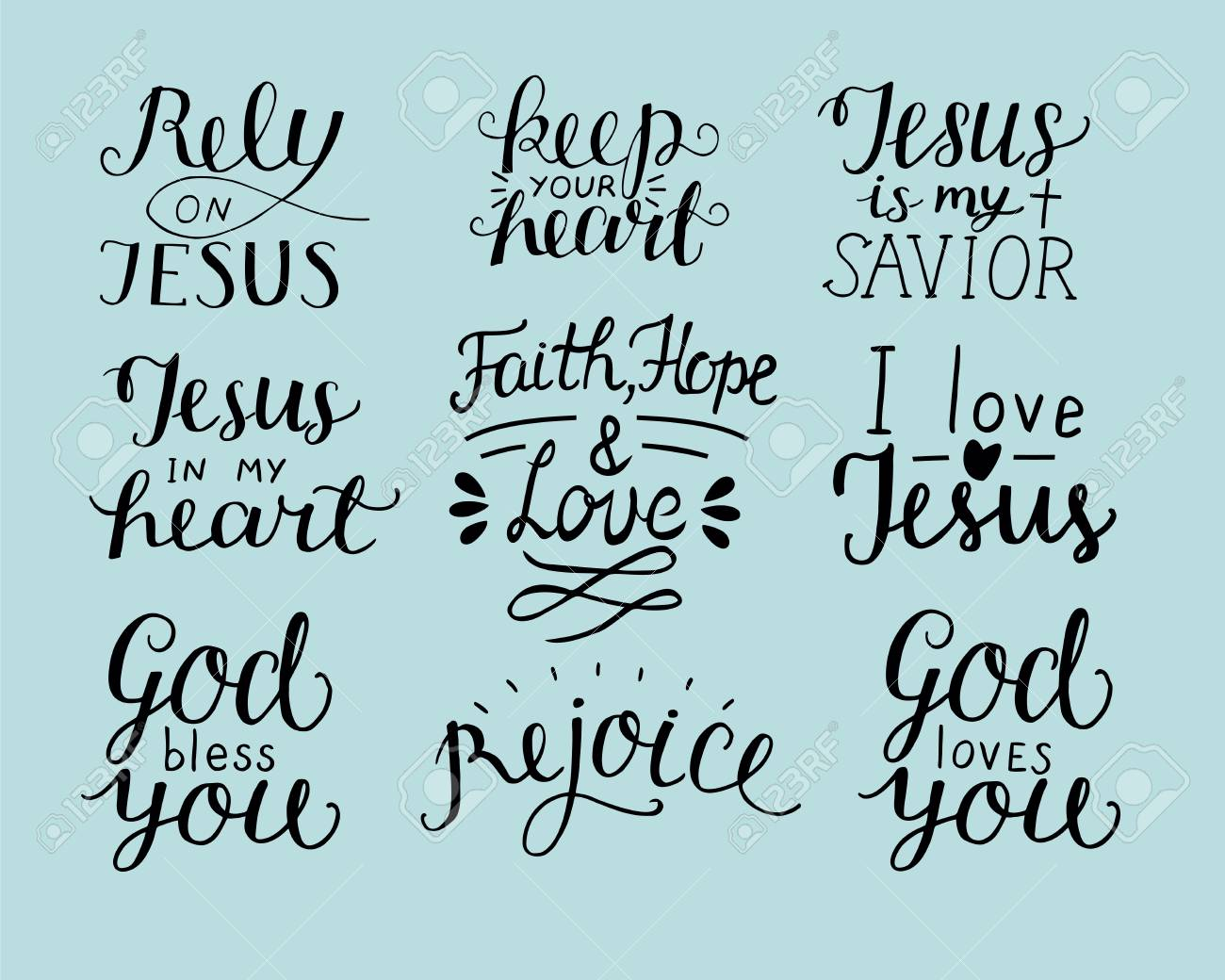 set of hand lettering christian quotes like god bless you