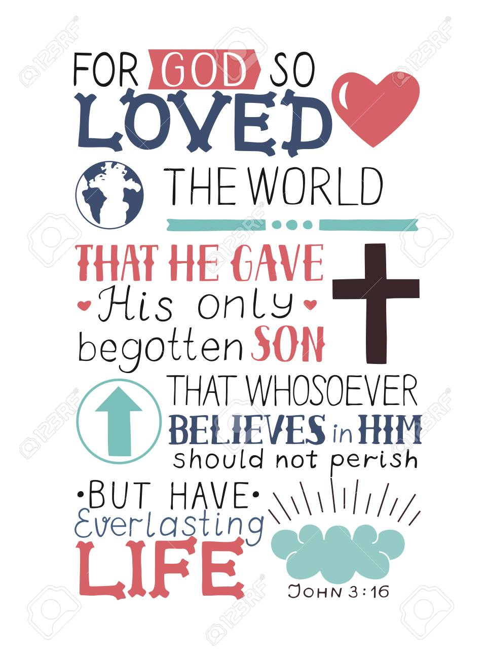 Golden Bible verse John 3 16 For God so loved the world, made hand lettering with heart and cross. Biblical background. Christian poster. Modern calligraphy. Graphics. Scripture. New testament - 93652742