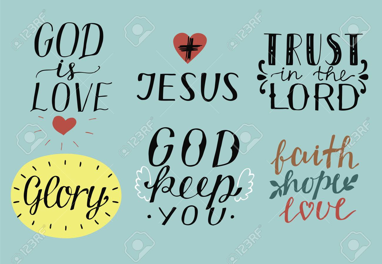 Set of 6 Hand lettering christian quotes God is love. Jesus...