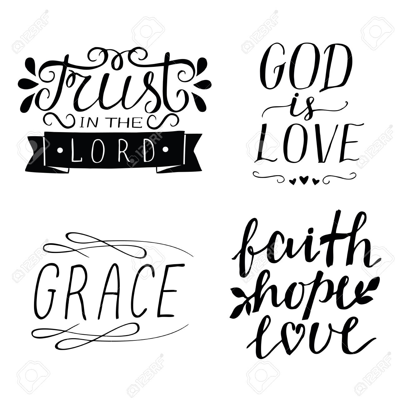 Image of: Moving Set Of Hand Lettering Christian Quotes God Is Love Faith Hope Love 123rfcom Set Of Hand Lettering Christian Quotes God Is Love Faith
