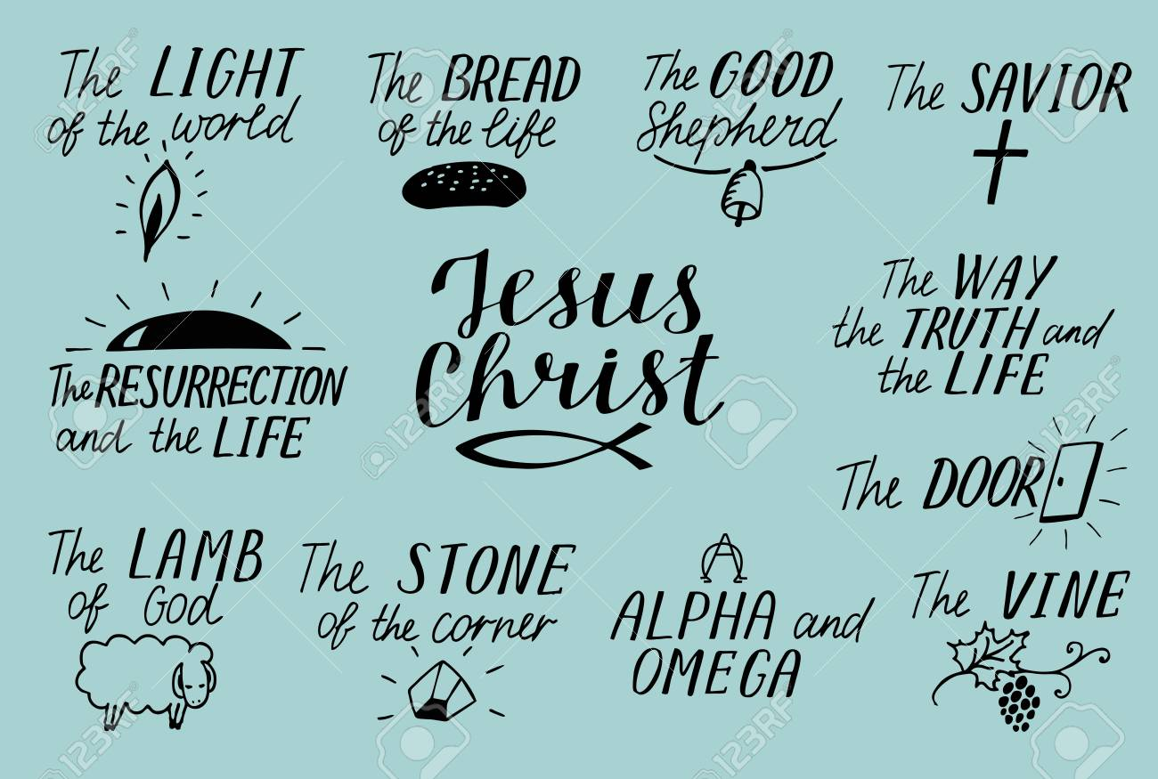 Set of 11 hand lettering christian quotes about jesus christ savior good shepherd