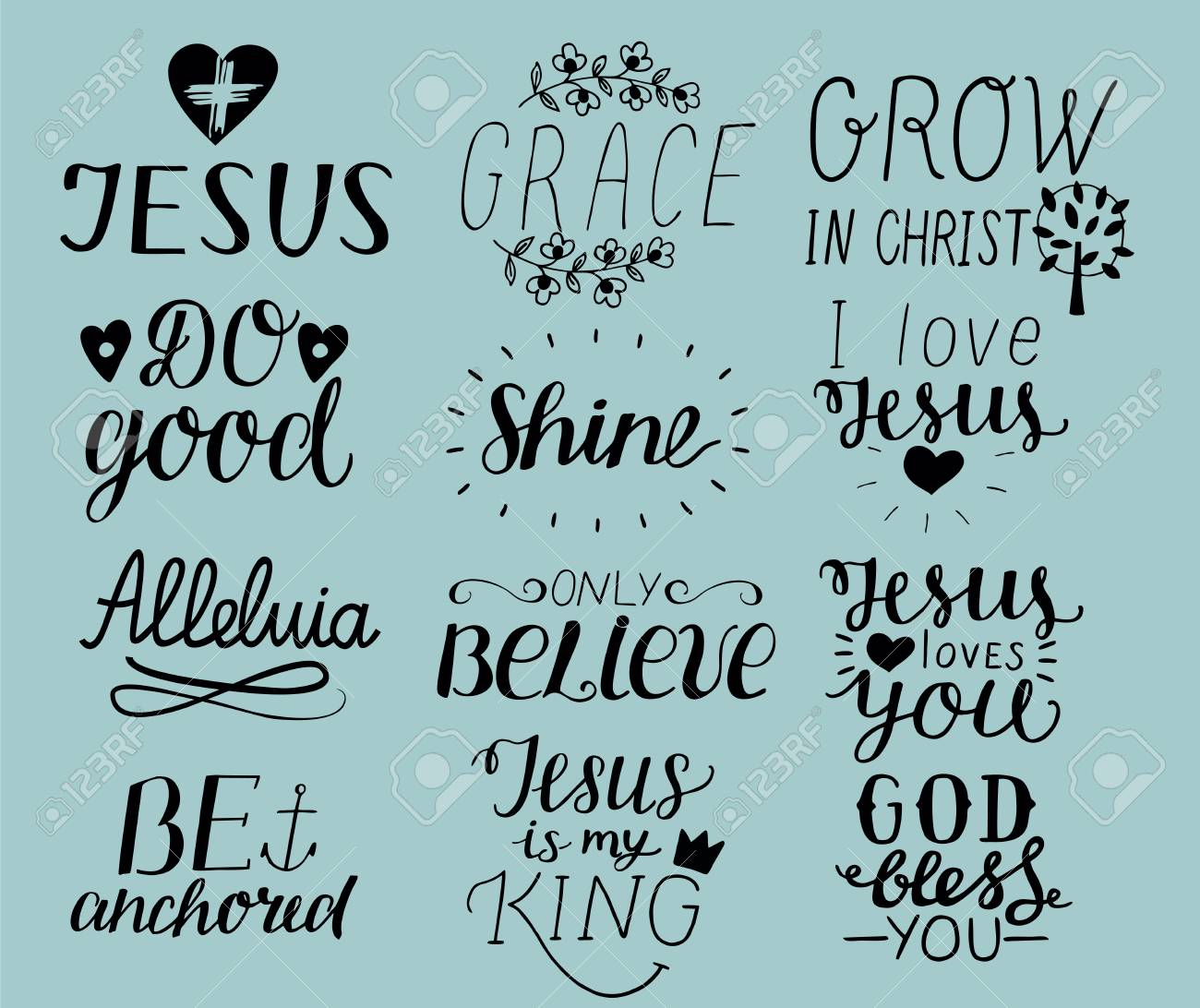 Set of 12 Hand lettering christian quotes I love Jesus  Grace