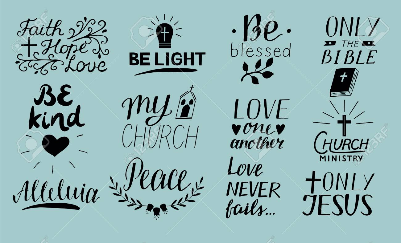 Charming Set Of 12 Hand Lettering Christian Quotes Only Jesus. Love One Another.  Church Ministry