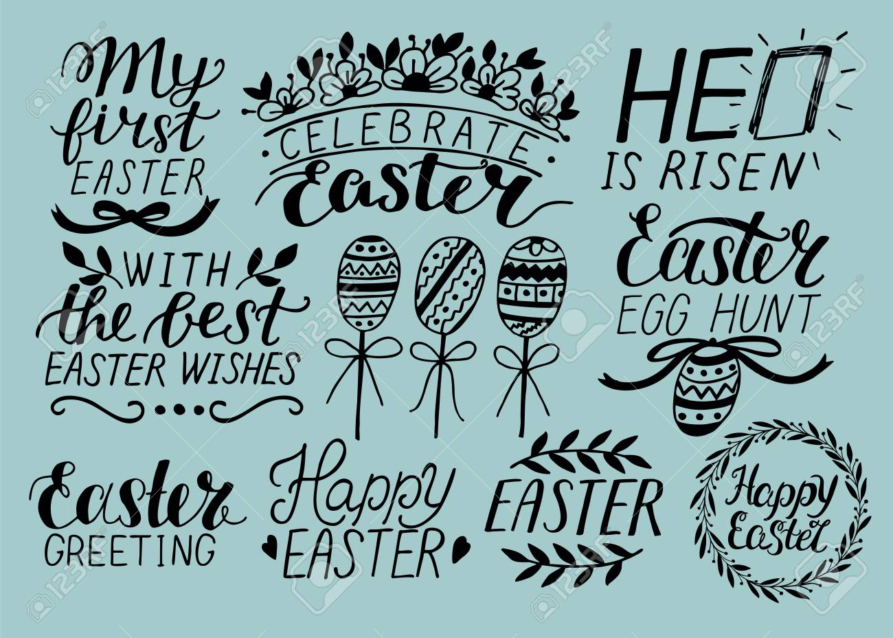 Set Of 9 Hand Lettering Quotes About Easter He Is Risen Egg