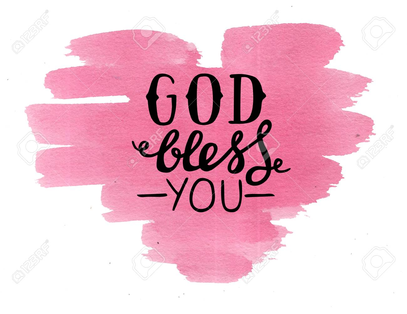 Hand Lettering God Bless You Made On Pink Watercolor Heart