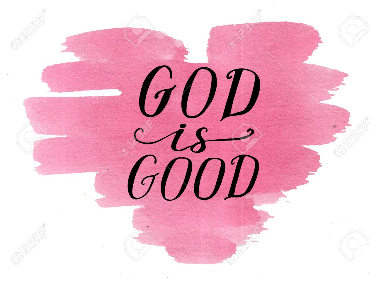factory authentic 867be e3f83 Hand lettering God is good on watercolor heart. Card. Biblical background.  Christian poster