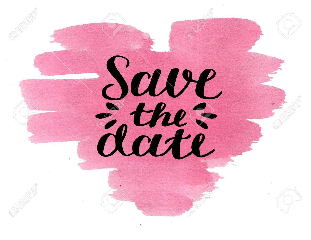 b007c790c545d Hand lettering Save the date on watercolor pink heart. Declaration..