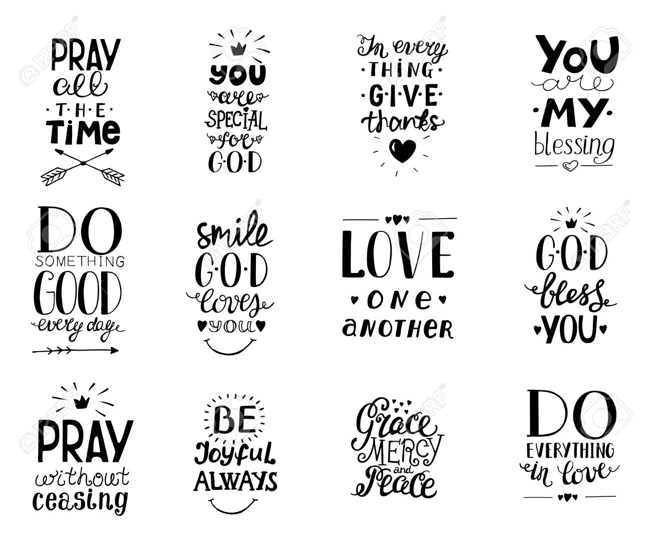 Set of 12 Hand lettering christian quotesYou blessings, Do good..