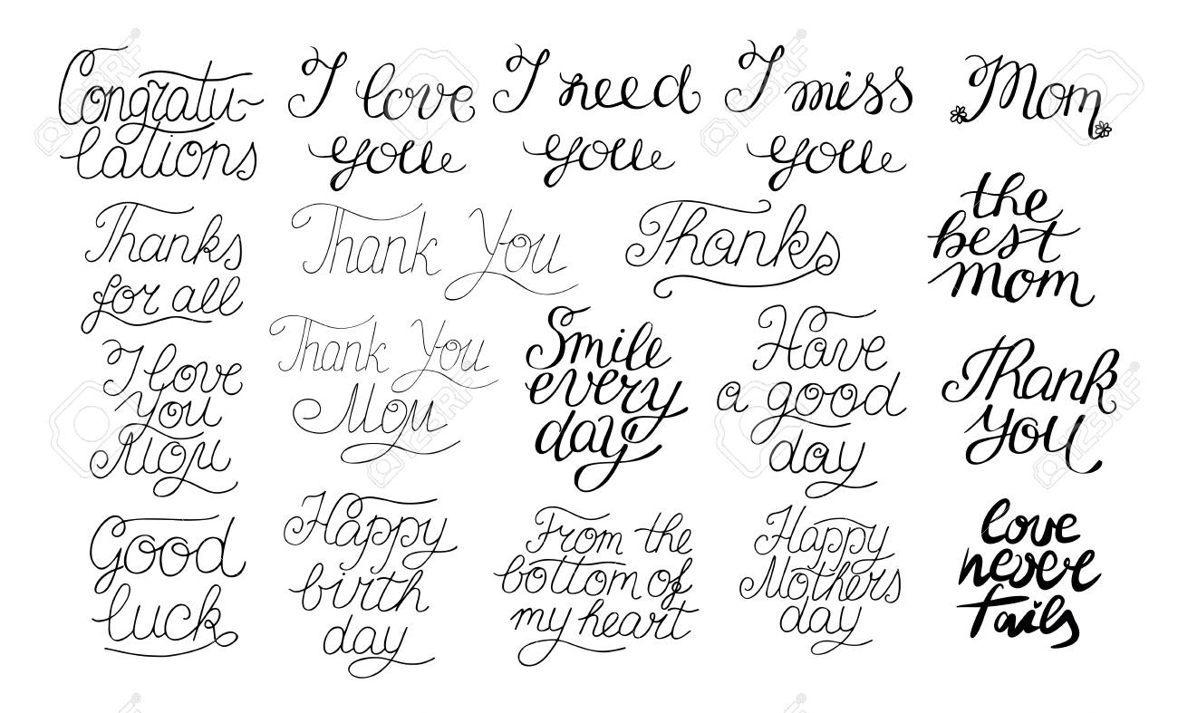 19 hand-lettering quotes I love you, Happy birthday, Thank you,..