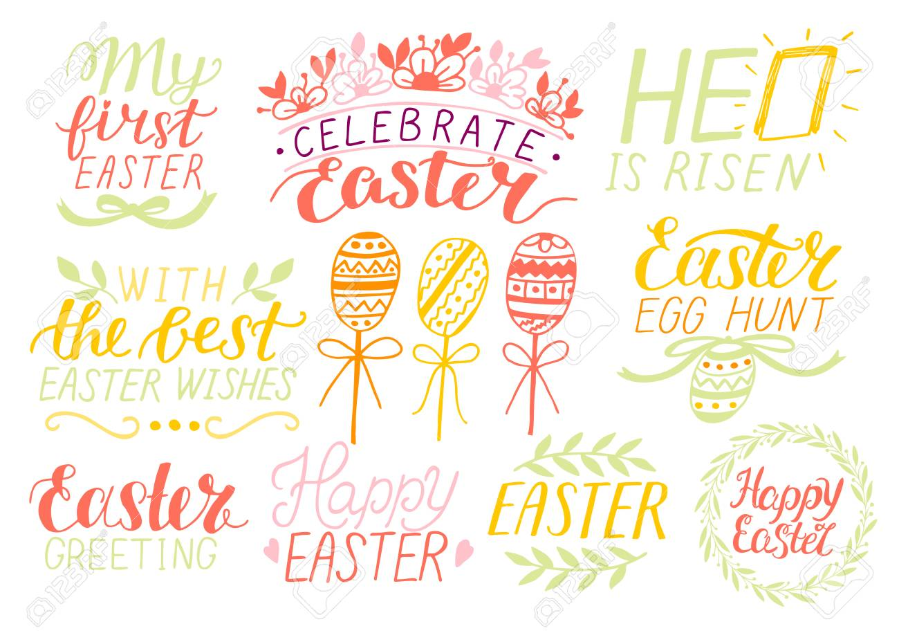 Set of 9 hand lettering quotes about Easter. He is risen. Egg..