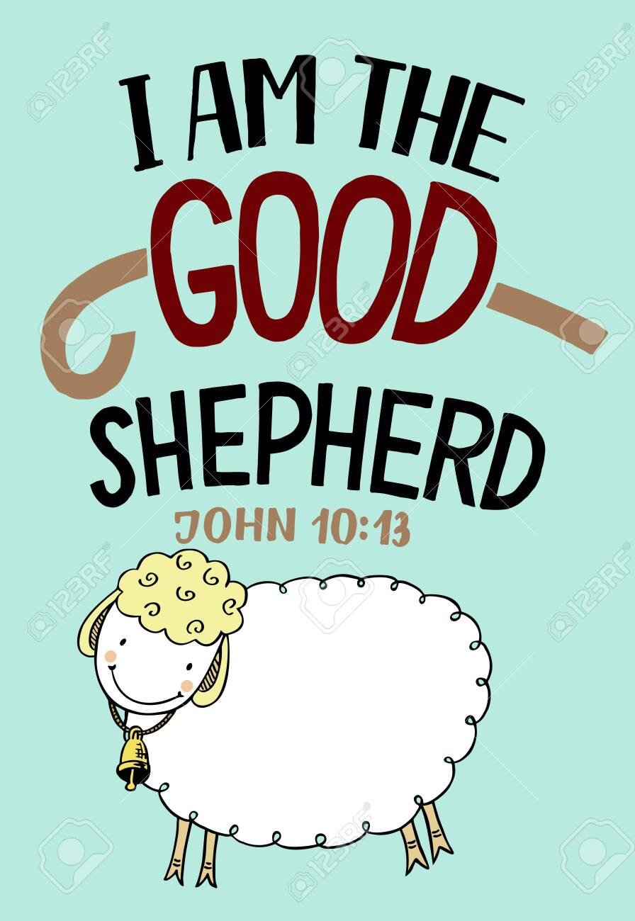 Hand lettering I am the good shepherd with sheep. - 149551664