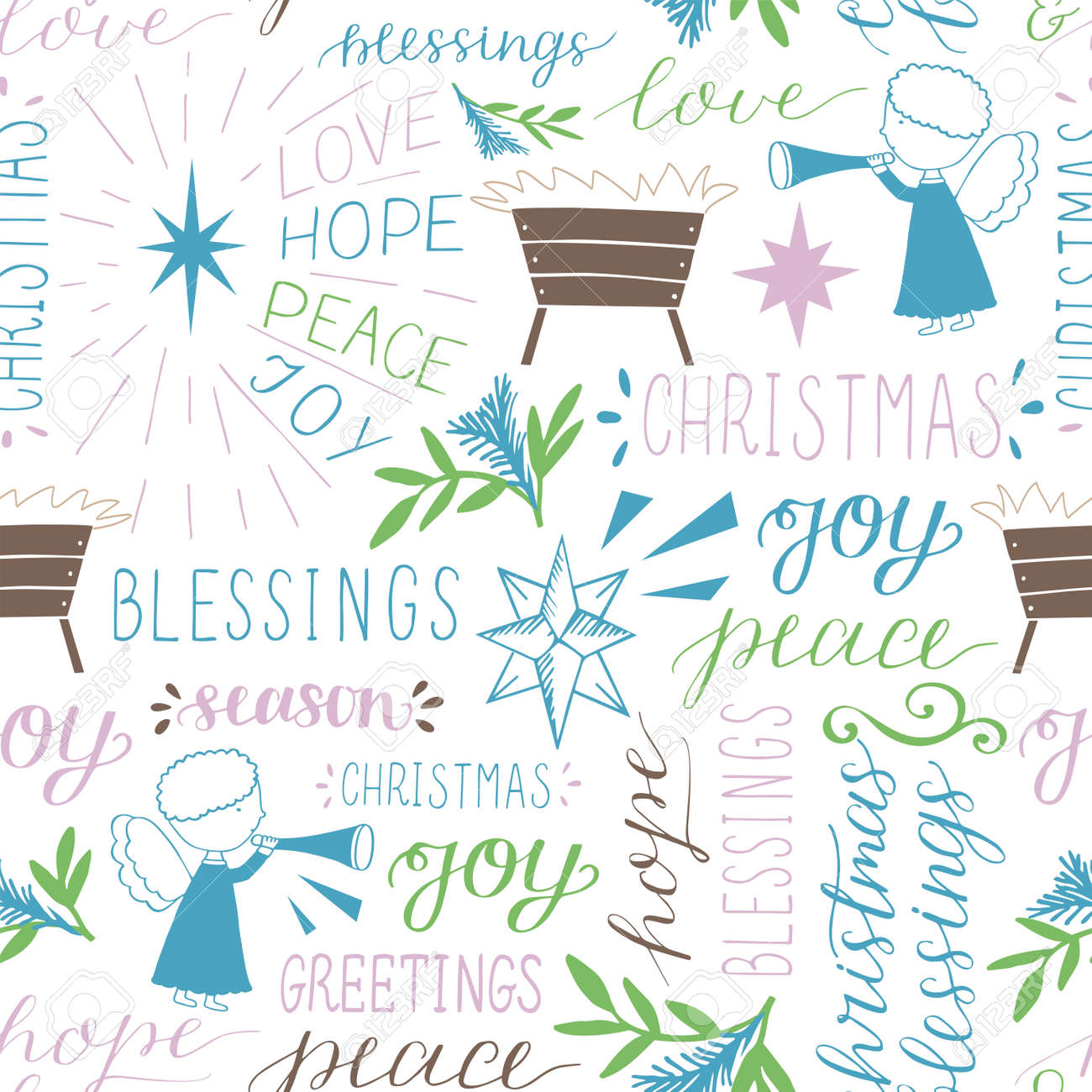Seamless christmas pattern with hand drawn words Love, Hope, Peace, Joy, Greetings, Blessings, stars and Angels. - 155929846