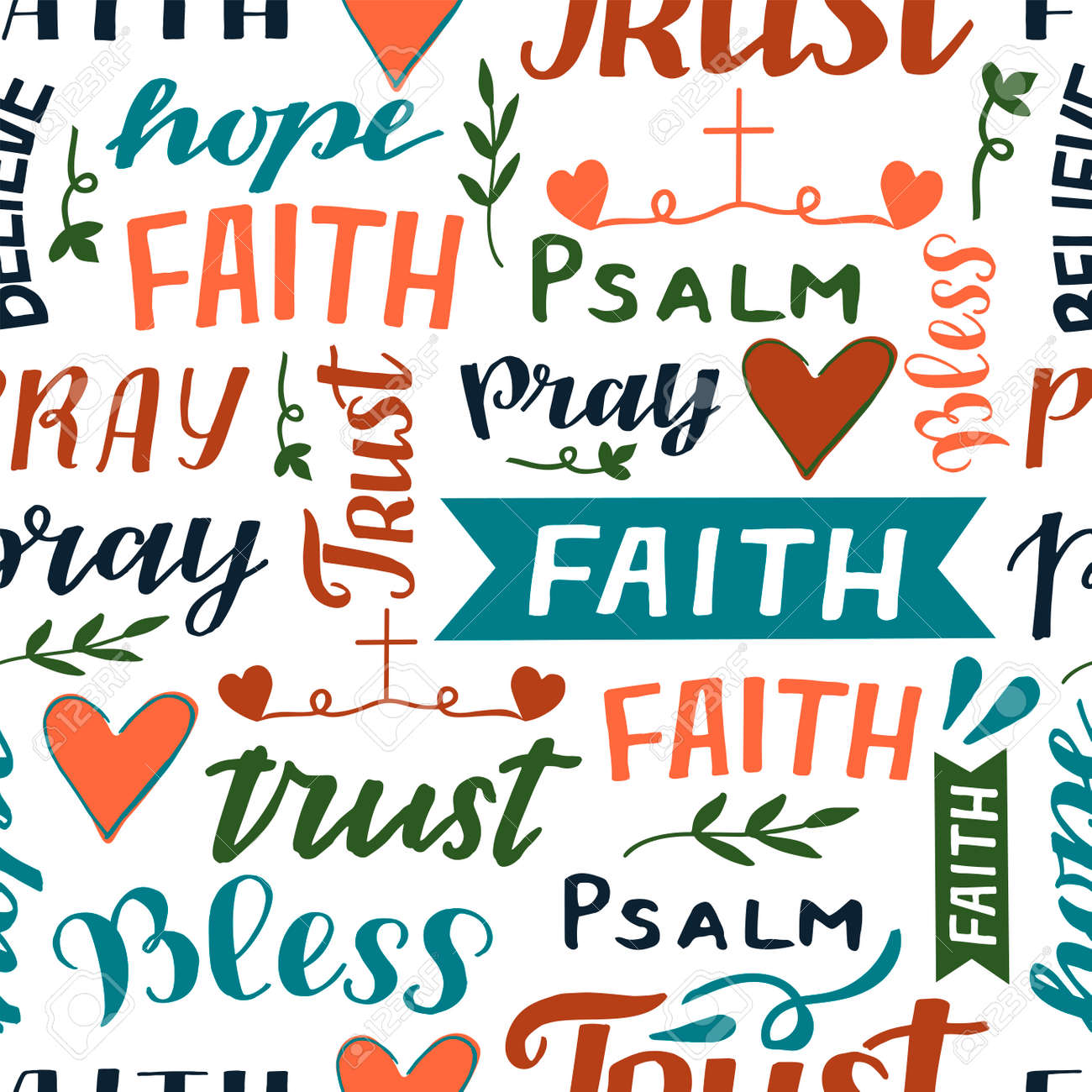 Seamless pattern with hand lettering words Faith, Trust, psalm, Pray. - 155780866