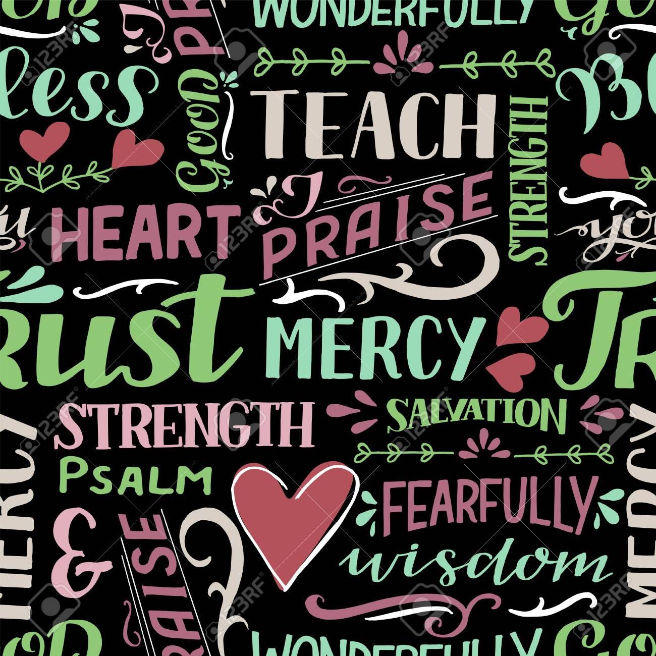 Seamless pattern with hand drawn words Mercy, Trust, Salvation, Wisdom, Psalm, Praise. - 155780867