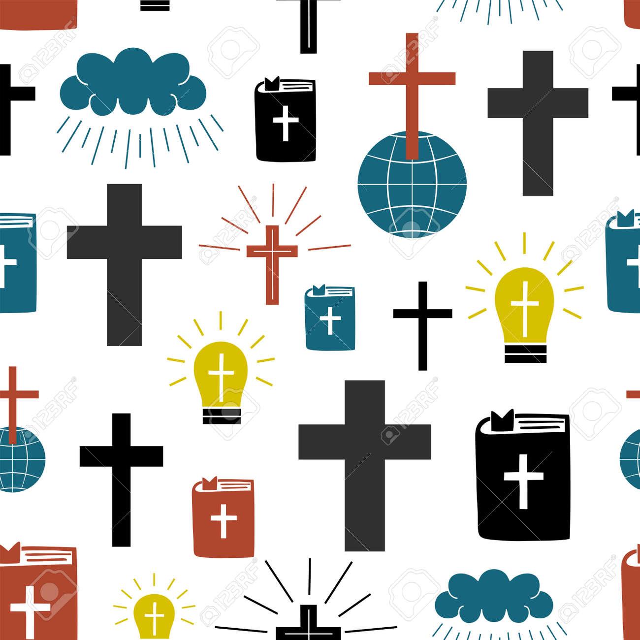 Seamless pattern with symbols Cross on globe, Bible, glowing light bulb. - 155780908