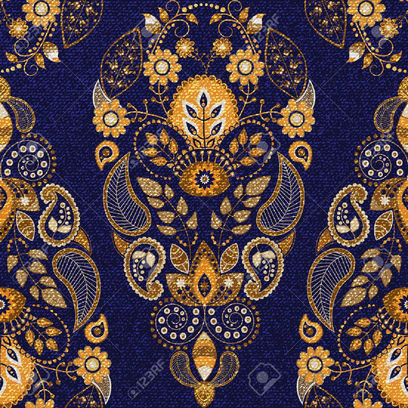Golden and blue floral seamless pattern, ornamental wallpaper Stock Vector - 39163649