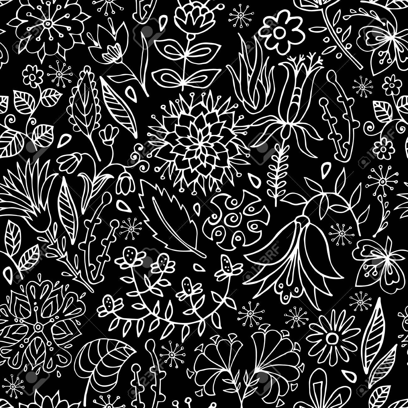 Black And White Floral Seamless Pattern Floral Wallpaper Royalty